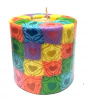 Multicoloured Hearts Pillar Candle - 600/BR51