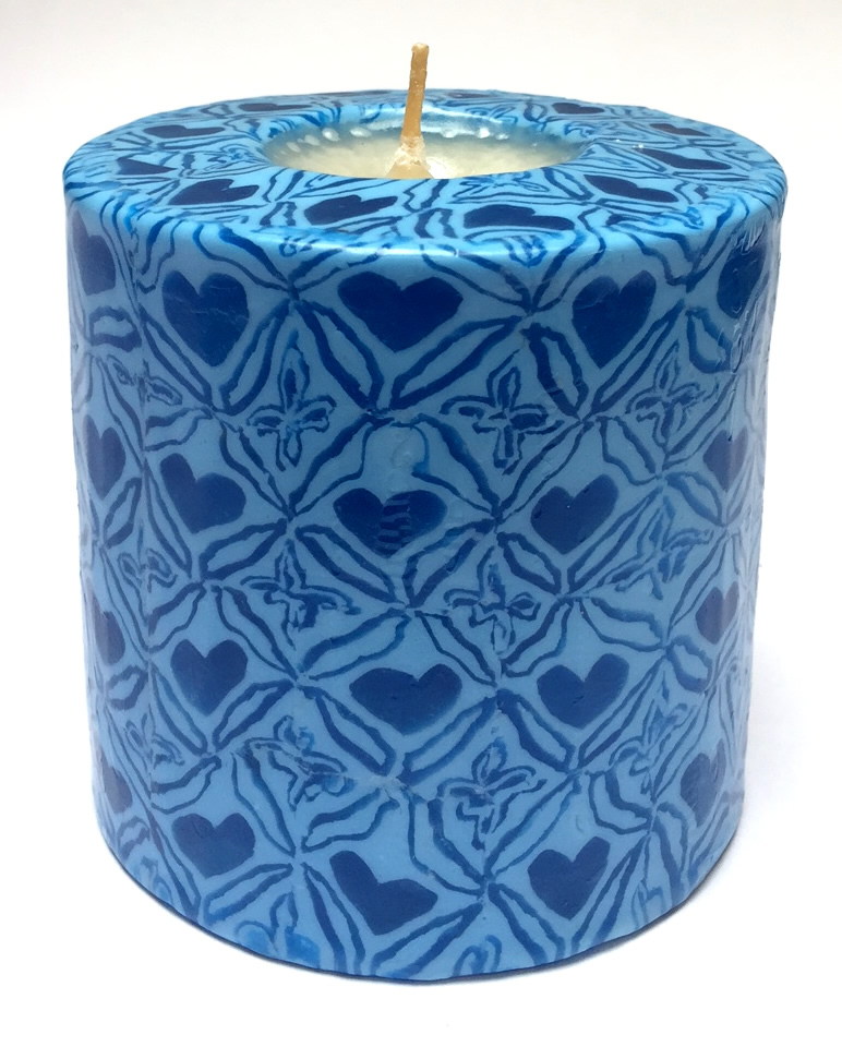 SP/BR50 - Blue Hearts Pillar Candle (Swazi)