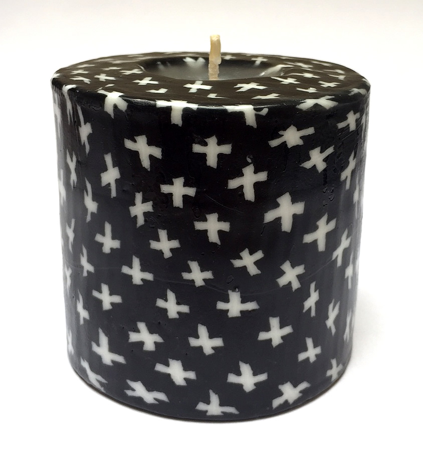 Black & White Pillar Candle - 600/BW7