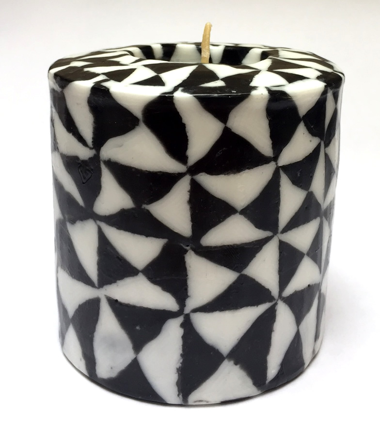 Black & White Pillar Candle - 600/BW8