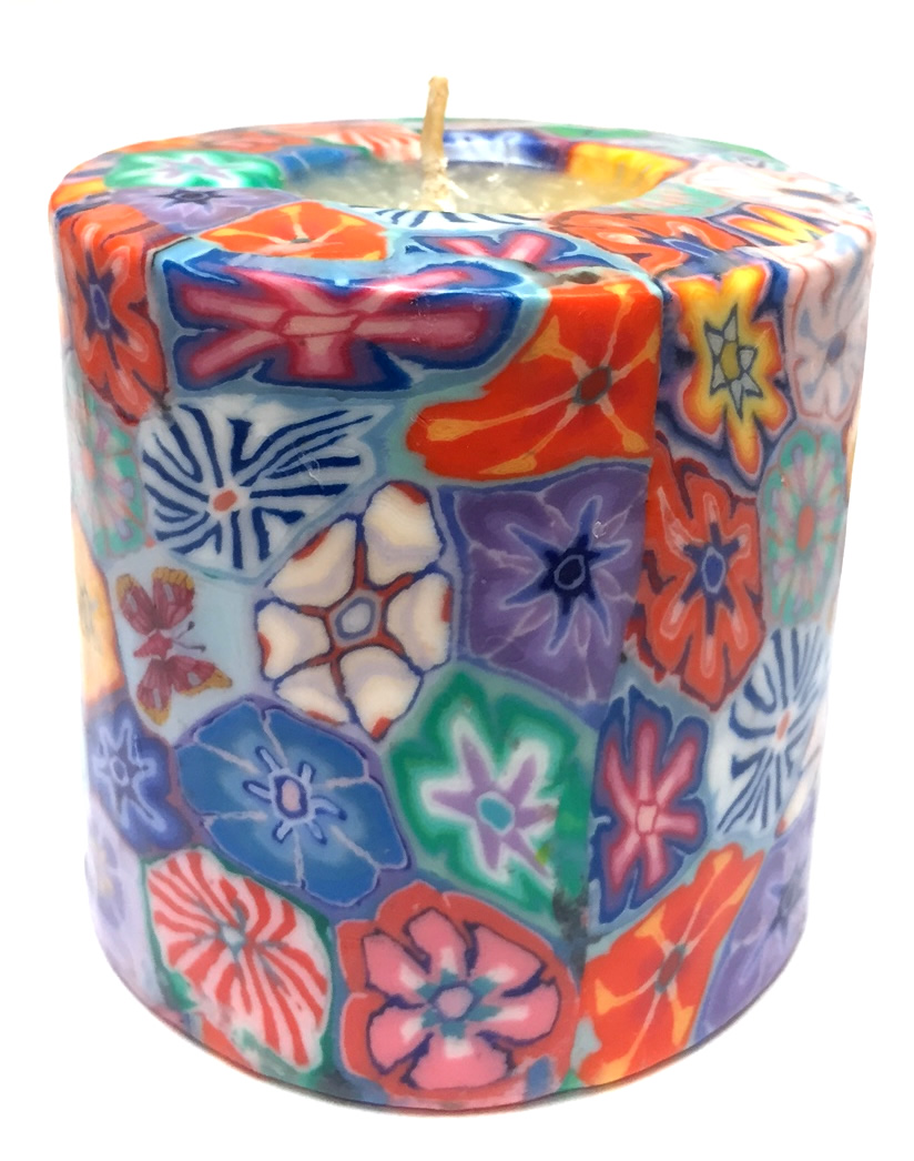 SP/CL1 - Floral Pillar Candle (Swazi)